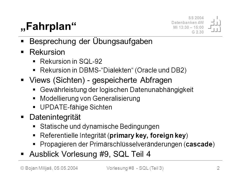 SS 2004 Datenbanken 4W Mi 13:30 – 15:00 G 2.30 © Bojan Milijaš, 05.05.2004Vorlesung #8 - SQL (Teil 3)2 Fahrplan Besprechung der Übungsaufgaben Rekursion Rekursion in SQL-92 Rekursion in DBMS-Dialekten (Oracle und DB2) Views (Sichten) - gespeicherte Abfragen Gewährleistung der logischen Datenunabhängigkeit Modellierung von Generalisierung UPDATE-fähige Sichten Datenintegrität Statische und dynamische Bedingungen Referentielle Integrität (primary key, foreign key) Propagieren der Primärschlüsselveränderungen (cascade) Ausblick Vorlesung #9, SQL Teil 4