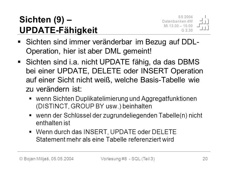 SS 2004 Datenbanken 4W Mi 13:30 – 15:00 G 2.30 © Bojan Milijaš, 05.05.2004Vorlesung #8 - SQL (Teil 3)20 Sichten (9) – UPDATE-Fähigkeit Sichten sind immer veränderbar im Bezug auf DDL- Operation, hier ist aber DML gemeint.