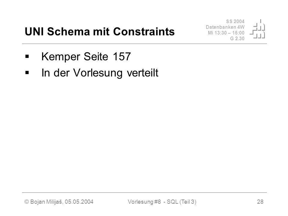 SS 2004 Datenbanken 4W Mi 13:30 – 15:00 G 2.30 © Bojan Milijaš, 05.05.2004Vorlesung #8 - SQL (Teil 3)28 UNI Schema mit Constraints Kemper Seite 157 In der Vorlesung verteilt