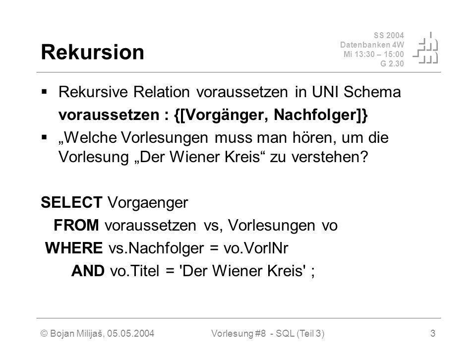 SS 2004 Datenbanken 4W Mi 13:30 – 15:00 G 2.30 © Bojan Milijaš, 05.05.2004Vorlesung #8 - SQL (Teil 3)3 Rekursion Rekursive Relation voraussetzen in UNI Schema voraussetzen : {[Vorgänger, Nachfolger]} Welche Vorlesungen muss man hören, um die Vorlesung Der Wiener Kreis zu verstehen.
