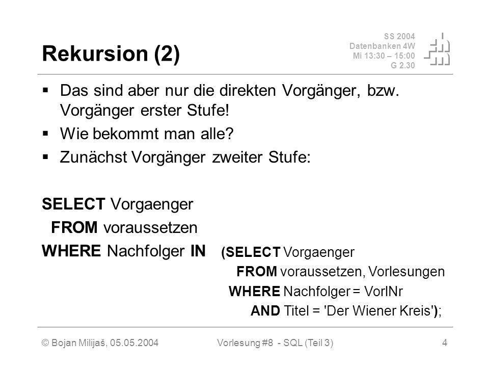 SS 2004 Datenbanken 4W Mi 13:30 – 15:00 G 2.30 © Bojan Milijaš, 05.05.2004Vorlesung #8 - SQL (Teil 3)4 Rekursion (2) Das sind aber nur die direkten Vorgänger, bzw.