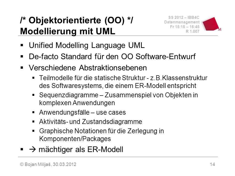 SS 2012 – IBB4C Datenmanagement Fr 15:15 – 16:45 R 1.007 © Bojan Milijaš, 30.03.201214 /* Objektorientierte (OO) */ Modellierung mit UML Unified Model