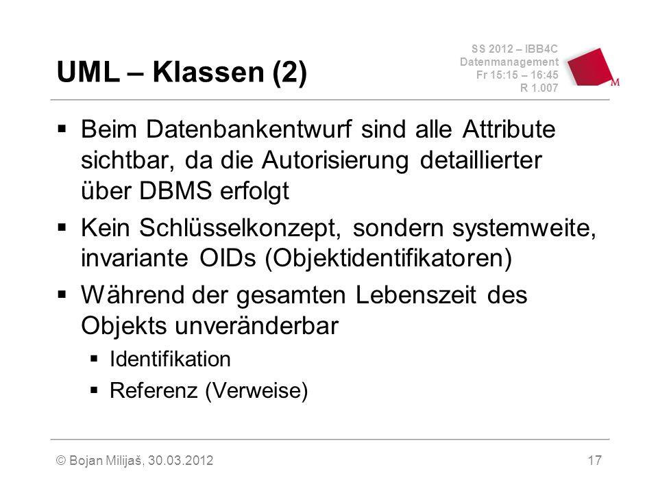 SS 2012 – IBB4C Datenmanagement Fr 15:15 – 16:45 R 1.007 © Bojan Milijaš, 30.03.201217 UML – Klassen (2) Beim Datenbankentwurf sind alle Attribute sic