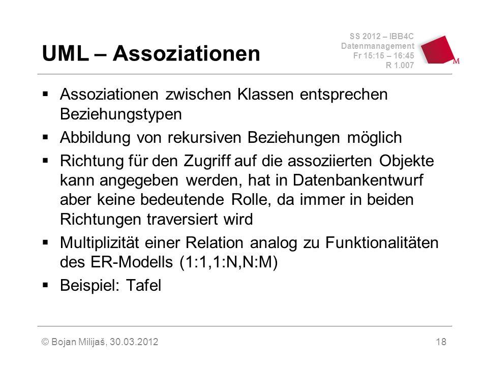 SS 2012 – IBB4C Datenmanagement Fr 15:15 – 16:45 R 1.007 © Bojan Milijaš, 30.03.201218 UML – Assoziationen Assoziationen zwischen Klassen entsprechen