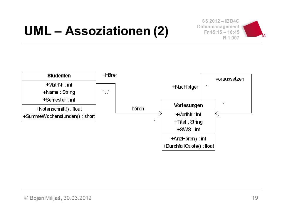 SS 2012 – IBB4C Datenmanagement Fr 15:15 – 16:45 R 1.007 © Bojan Milijaš, 30.03.201219 UML – Assoziationen (2)