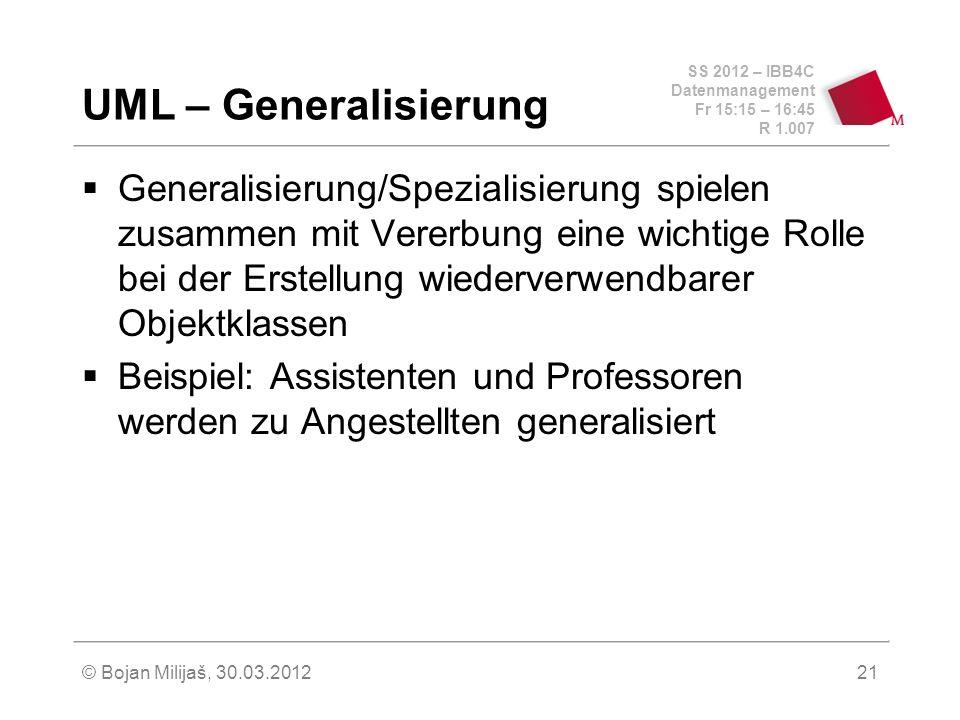 SS 2012 – IBB4C Datenmanagement Fr 15:15 – 16:45 R 1.007 © Bojan Milijaš, 30.03.201221 UML – Generalisierung Generalisierung/Spezialisierung spielen z