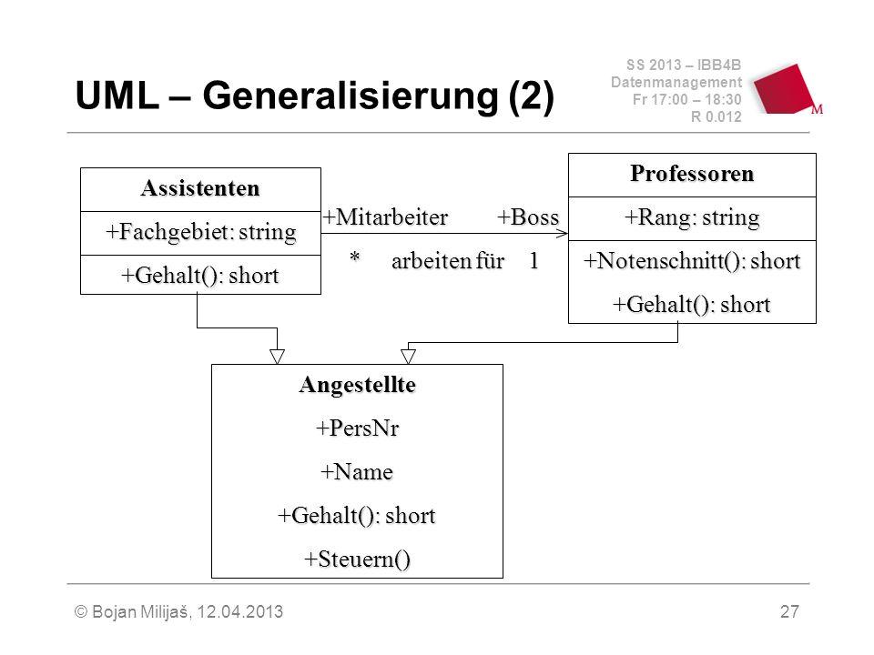 SS 2013 – IBB4B Datenmanagement Fr 17:00 – 18:30 R 0.012 © Bojan Milijaš, 12.04.201327 UML – Generalisierung (2) Assistenten +Fachgebiet: string +Gehalt(): short Professoren +Rang: string +Notenschnitt(): short +Gehalt(): short Angestellte+PersNr+Name +Steuern() +Mitarbeiter+Boss * arbeiten für 1