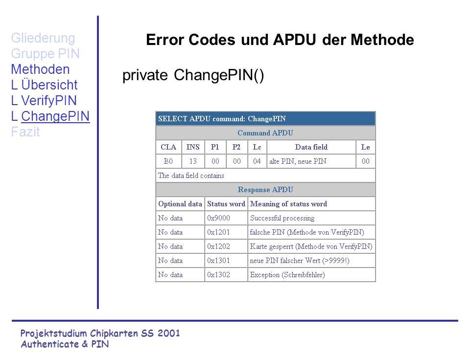 Projektstudium Chipkarten SS 2001 Authenticate & PIN Gliederung Gruppe PIN Methoden L Übersicht L VerifyPIN L ChangePIN Fazit PIN korrekt? Eingabe alt