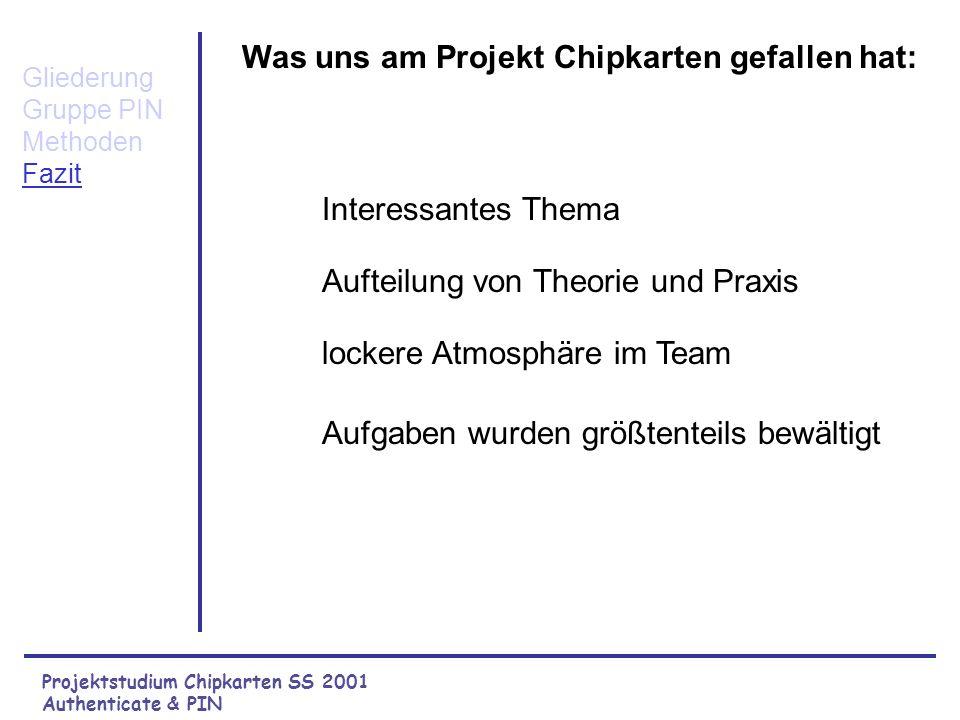 Projektstudium Chipkarten SS 2001 Authenticate & PIN Error Codes und APDU der Methode private ChangePIN() Gliederung Gruppe PIN Methoden L Übersicht L