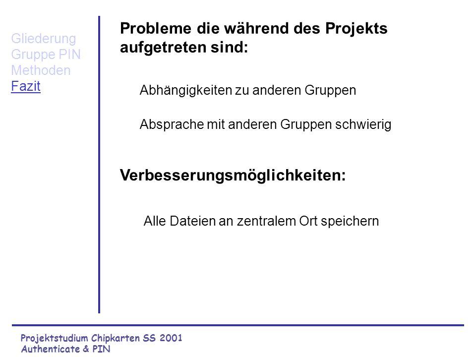 Projektstudium Chipkarten SS 2001 Authenticate & PIN Gliederung Gruppe PIN Methoden Fazit Was uns am Projekt Chipkarten gefallen hat: Interessantes Th