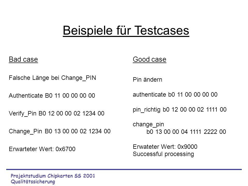 Projektstudium Chipkarten SS 2001 Qualitätssicherung Willkommensbildschirm: Menü: Abfrage: ist CK vorhanden Hilfe Karte authentifizieren Hilfe Fehlerm