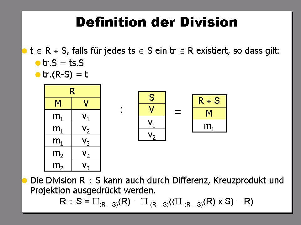 SS 2004 Datenbanken 4W Mi 13:30 – 15:00 G 2.30 © Bojan Milijaš, 14.04.2004Vorlesung #5 - Relationale Anfragesprachen18