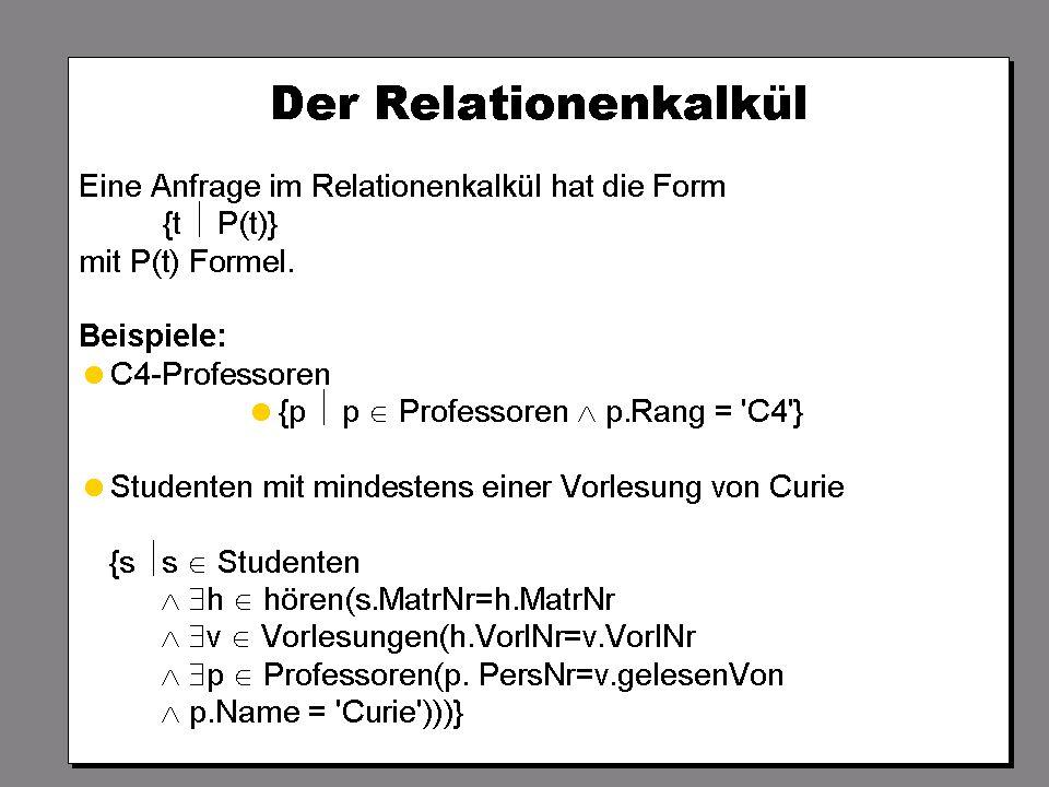 SS 2004 Datenbanken 4W Mi 13:30 – 15:00 G 2.30 © Bojan Milijaš, 14.04.2004Vorlesung #5 - Relationale Anfragesprachen20