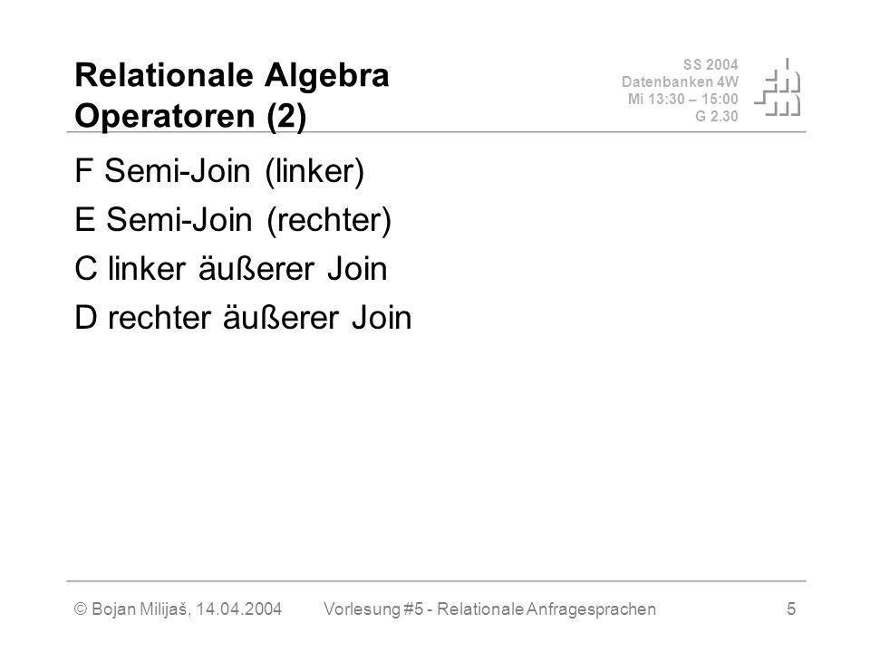 SS 2004 Datenbanken 4W Mi 13:30 – 15:00 G 2.30 © Bojan Milijaš, 14.04.2004Vorlesung #5 - Relationale Anfragesprachen5 Relationale Algebra Operatoren (2) F Semi-Join (linker) E Semi-Join (rechter) C linker äußerer Join D rechter äußerer Join