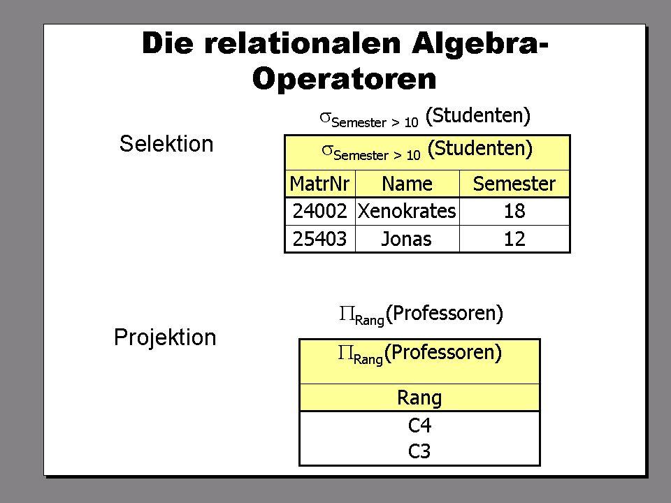 SS 2004 Datenbanken 4W Mi 13:30 – 15:00 G 2.30 © Bojan Milijaš, 14.04.2004Vorlesung #5 - Relationale Anfragesprachen6