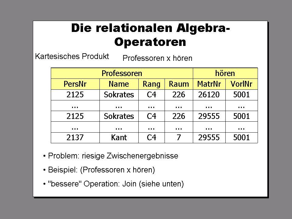 SS 2004 Datenbanken 4W Mi 13:30 – 15:00 G 2.30 © Bojan Milijaš, 14.04.2004Vorlesung #5 - Relationale Anfragesprachen7