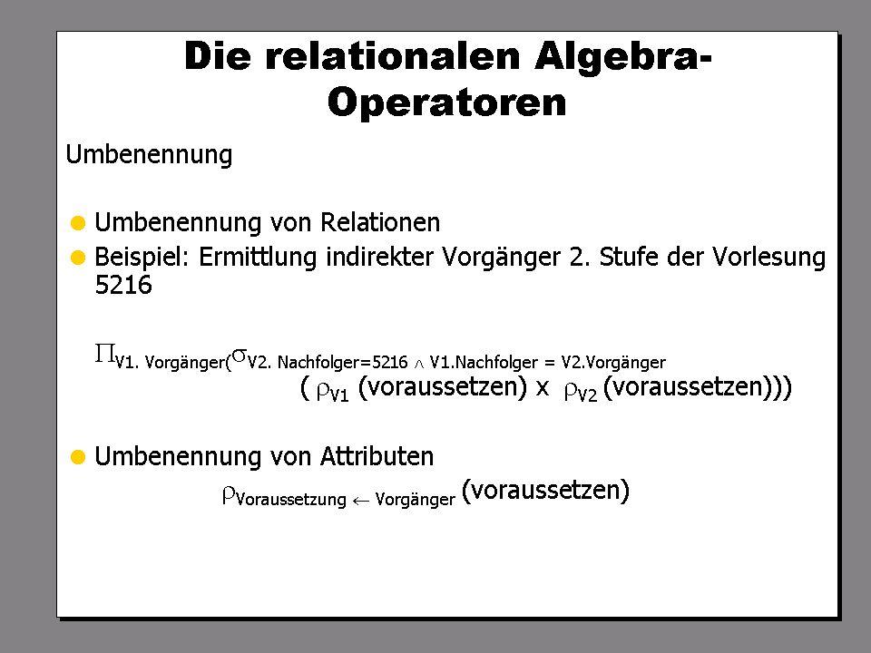 SS 2004 Datenbanken 4W Mi 13:30 – 15:00 G 2.30 © Bojan Milijaš, 14.04.2004Vorlesung #5 - Relationale Anfragesprachen8