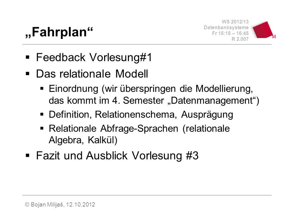 WS 2012/13 Datenbanksysteme Fr 15:15 – 16:45 R 2.007 © Bojan Milijaš, 12.10.2012 Relationenschema (3) Trennung zwischen Schema und Ausprägung sch(R) – Menge der Attribute einer Relation R – die aktuelle Ausprägung dom(A) – Domäne eines Attributs sch(R) = {A 1,..., A n } R dom(A 1 ) x...