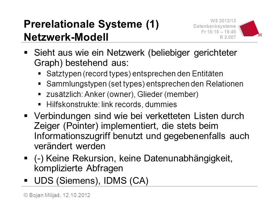 WS 2012/13 Datenbanksysteme Fr 15:15 – 16:45 R 2.007 © Bojan Milijaš, 12.10.2012 Prerelationale Systeme (2) Hierarchisches Modell Spezialfall des Netzwerk-Modells, sieht aus wie ein Baum und nicht wie beliebiger Graph Nachfolger, die mehrere Vorgänger haben, werden durch das Kopieren dem jeweiligen Vorgänger exklusiv zugeordnet, Graph mehrere Bäume Jeder Datensatz über einen eindeutigen Zugriffspfad erreichbar, Redundanzvermeidung durch Implementierung zusätzlicher Zeiger (-) schlecht für nicht hierarchische Zusammenhänge wegen unnötiger Redundanz, keine Datenunabhängigkeit, komplizierte Abfragen IMS (IBM)