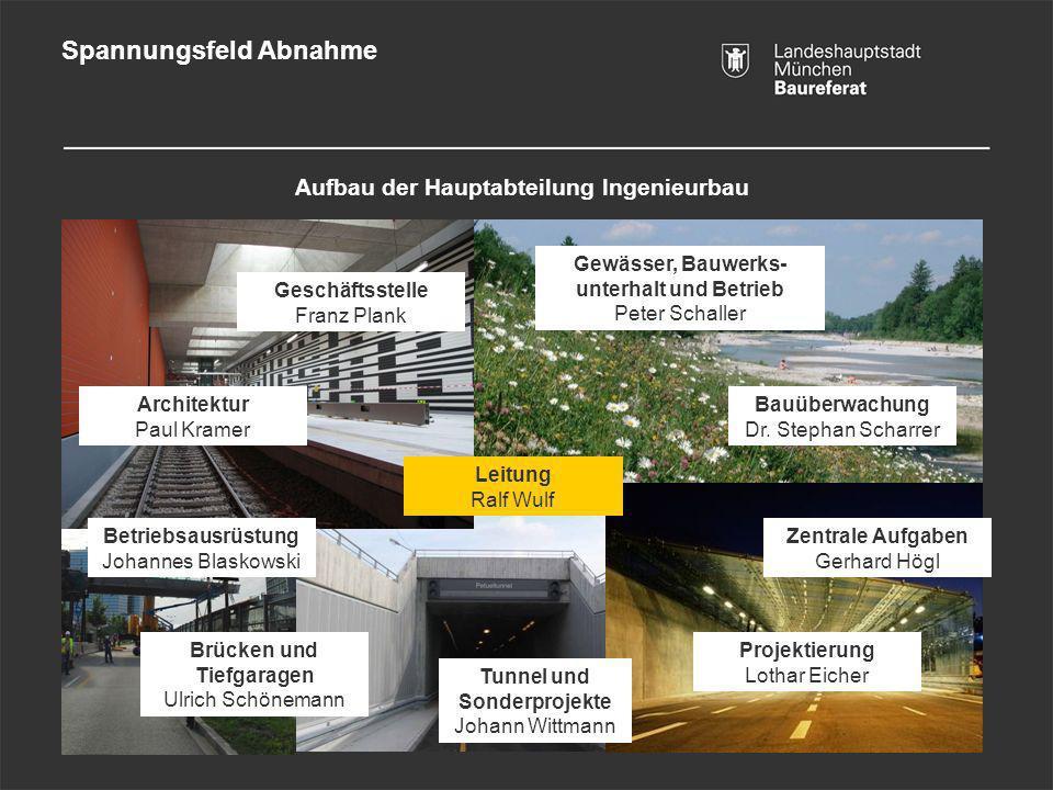 Spannungsfeld Abnahme Tunnel und Sonderprojekte Johann Wittmann Zentrale Aufgaben Gerhard Högl Geschäftsstelle Franz Plank Gewässer, Bauwerks- unterha