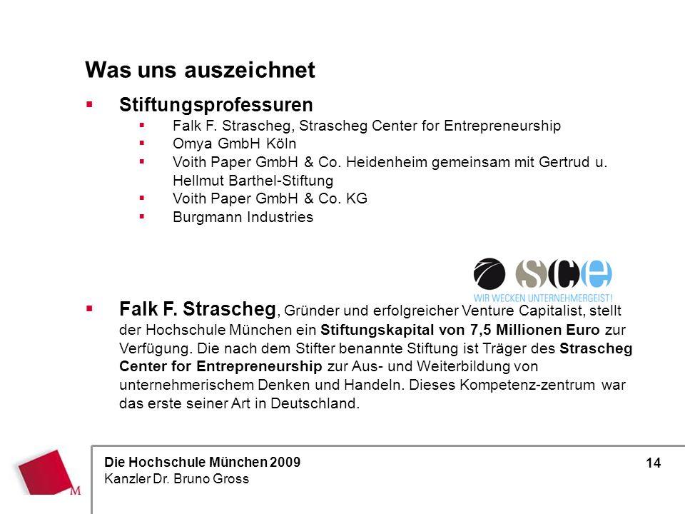 Die Hochschule München 2009 Kanzler Dr. Bruno Gross 14 Stiftungsprofessuren Falk F. Strascheg, Strascheg Center for Entrepreneurship Omya GmbH Köln Vo