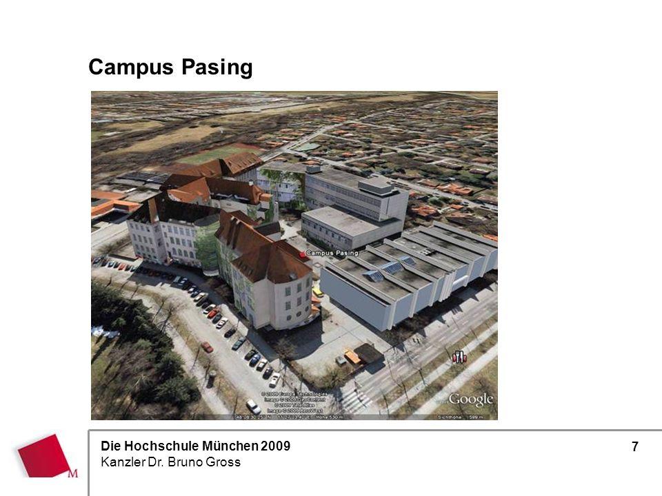 Die Hochschule München 2009 Kanzler Dr. Bruno Gross 7 Campus Pasing