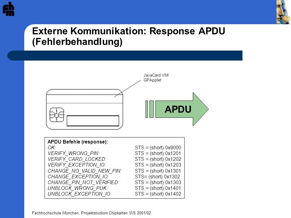 Fachhochschule München, Projektstudium Chipkarten WS 2001/02 Externe Kommunikation: Response APDU (Fehlerbehandlung) APDU APDU Befehle (response): OK: