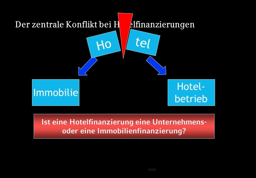 Seite 3 Der zentrale Konflikt bei Hotelfinanzierungen tel Immobilie Hotel- betrieb z.B.