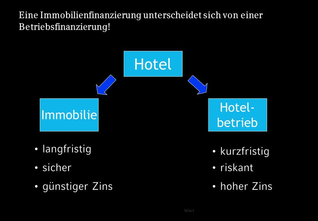 Seite 4 Eine Immobilienfinanzierung unterscheidet sich von einer Betriebsfinanzierung! Hotel Immobilie Hotel- betrieb langfristig kurzfristig sicher r