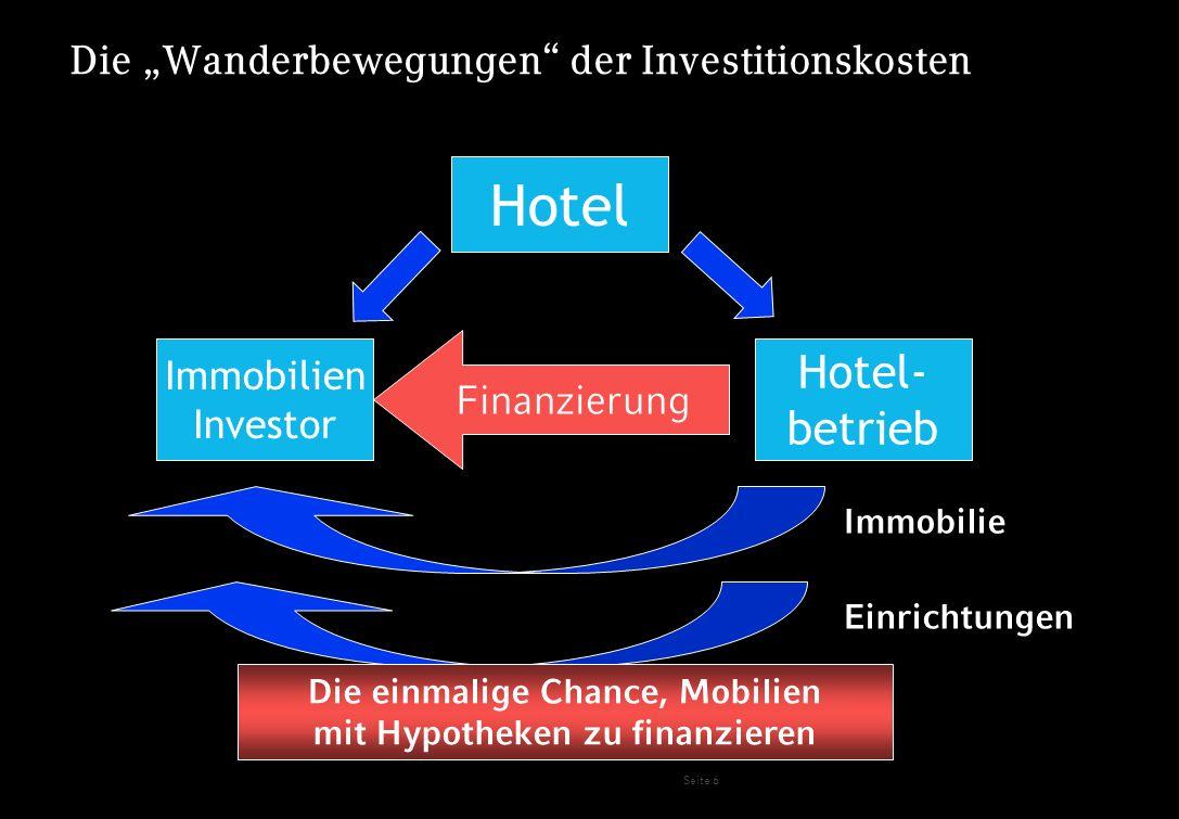 Seite 7 Die Wanderbewegungen der Investitionskosten Hotel Immobilien Investor Hotel- betrieb Finanzierung Immobilie Einrichtungen Pre-Opening Finanzierung von Anfangsverlusten über Hypotheken