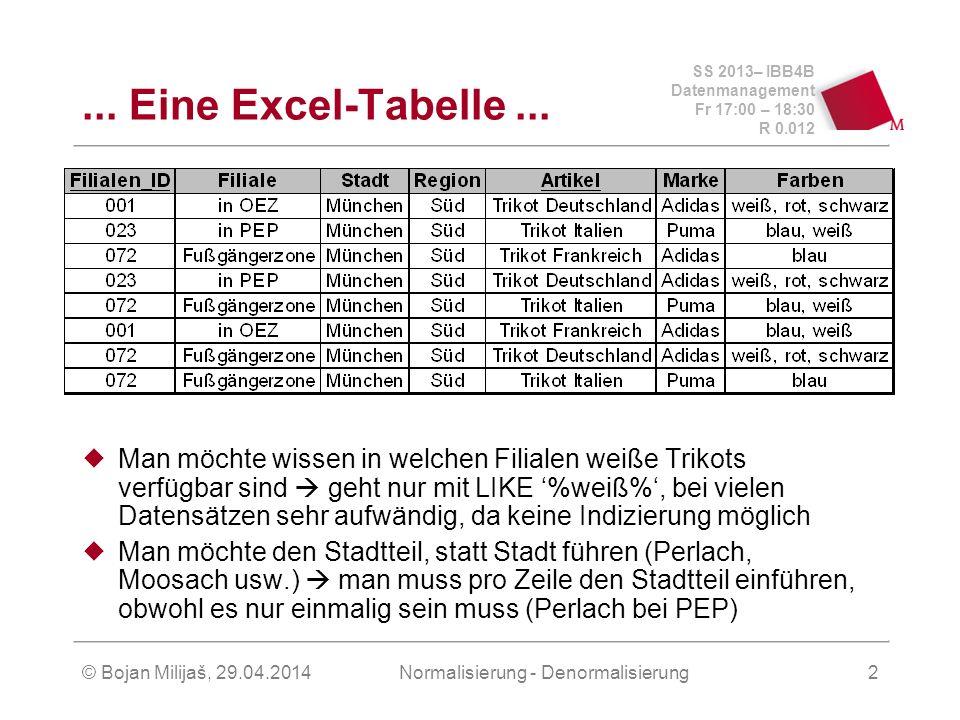 SS 2013– IBB4B Datenmanagement Fr 17:00 – 18:30 R 0.012 © Bojan Milijaš, 29.04.2014Normalisierung - Denormalisierung2... Eine Excel-Tabelle... Man möc