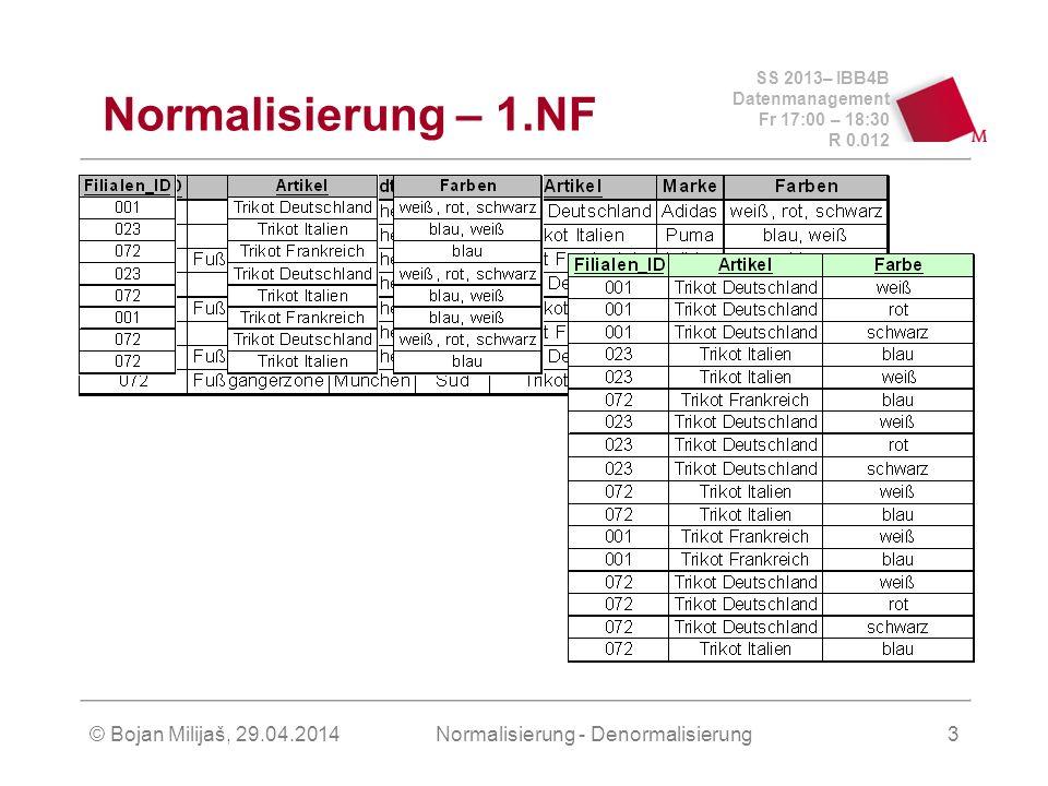 SS 2013– IBB4B Datenmanagement Fr 17:00 – 18:30 R 0.012 © Bojan Milijaš, 29.04.2014Normalisierung - Denormalisierung3 Normalisierung – 1.NF