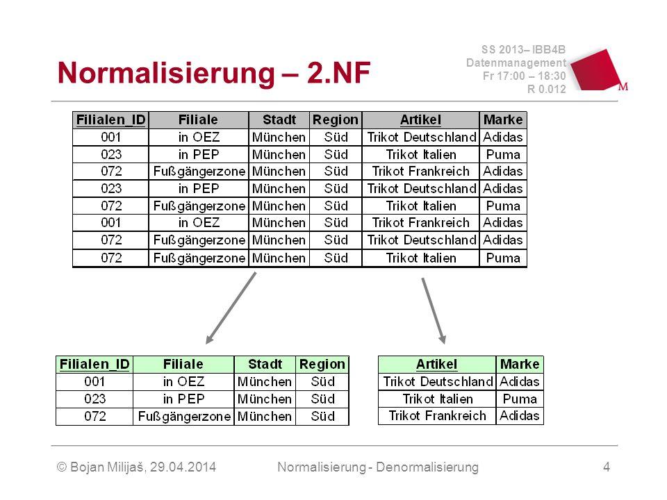 SS 2013– IBB4B Datenmanagement Fr 17:00 – 18:30 R 0.012 © Bojan Milijaš, 29.04.2014Normalisierung - Denormalisierung4 Normalisierung – 2.NF