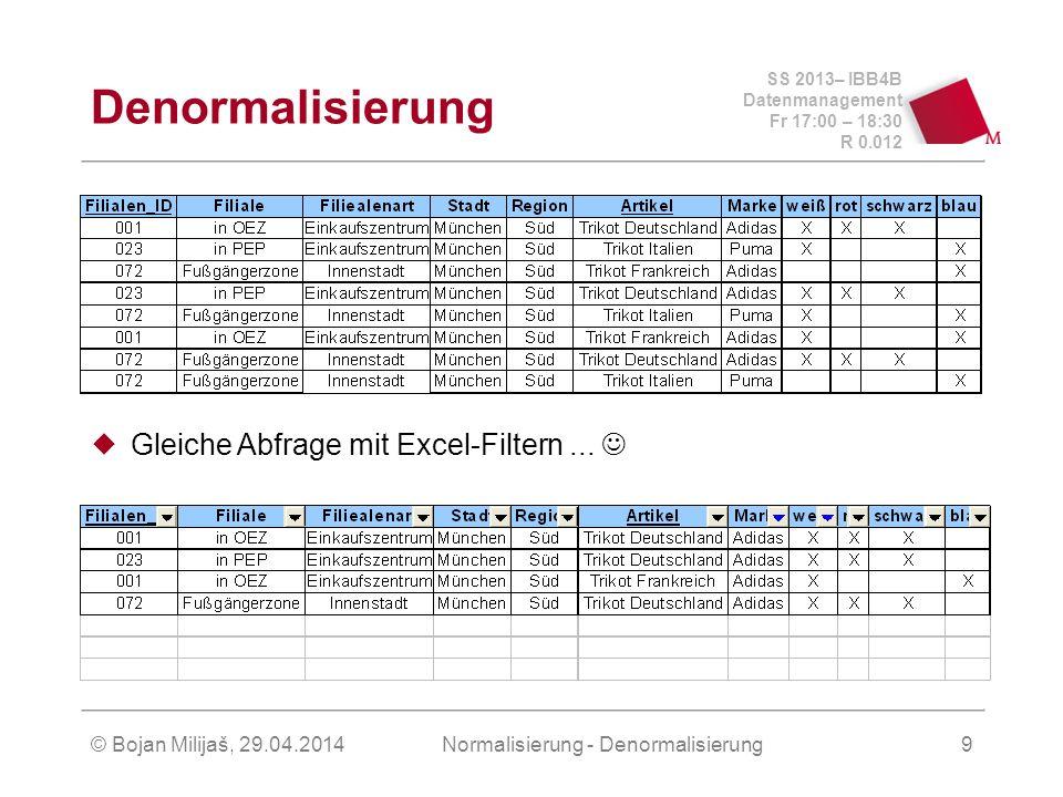 SS 2013– IBB4B Datenmanagement Fr 17:00 – 18:30 R 0.012 © Bojan Milijaš, 29.04.2014Normalisierung - Denormalisierung9 Denormalisierung Gleiche Abfrage