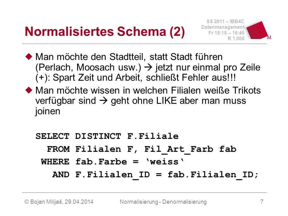 SS 2011 – IBB4C Datenmanagement Fr 15:15 – 16:45 R 1.006 © Bojan Milijaš, 29.04.2014Normalisierung - Denormalisierung8 Nachteile der Normalisierung Was ist nun, wenn man alle weißen Adidas Trikots in der Region München sich anschauen möchte.