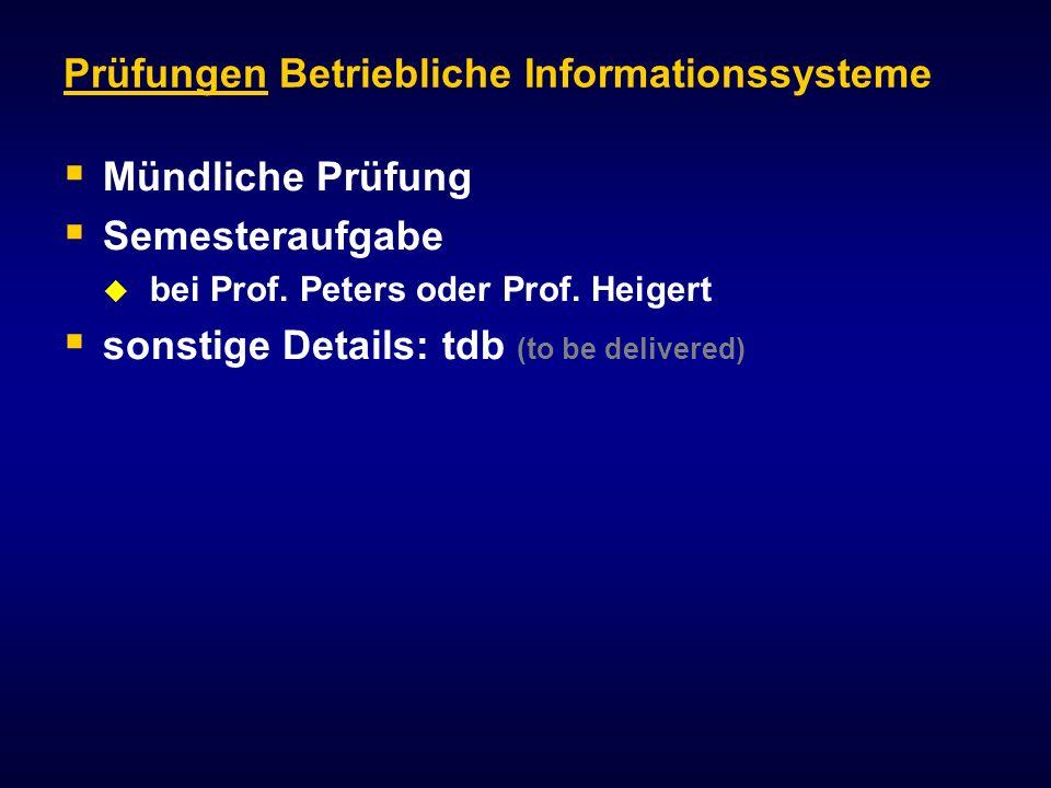 Prüfungen Betriebliche Informationssysteme Mündliche Prüfung Semesteraufgabe bei Prof.