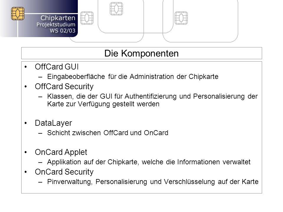 Die Komponenten OffCard GUI –Eingabeoberfläche für die Administration der Chipkarte OffCard Security –Klassen, die der GUI für Authentifizierung und Personalisierung der Karte zur Verfügung gestellt werden DataLayer –Schicht zwischen OffCard und OnCard OnCard Applet –Applikation auf der Chipkarte, welche die Informationen verwaltet OnCard Security –Pinverwaltung, Personalisierung und Verschlüsselung auf der Karte