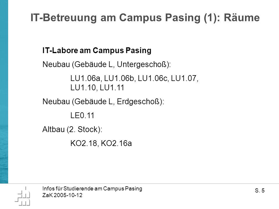 Infos für Studierende am Campus Pasing ZaK 2005-10-12 S.