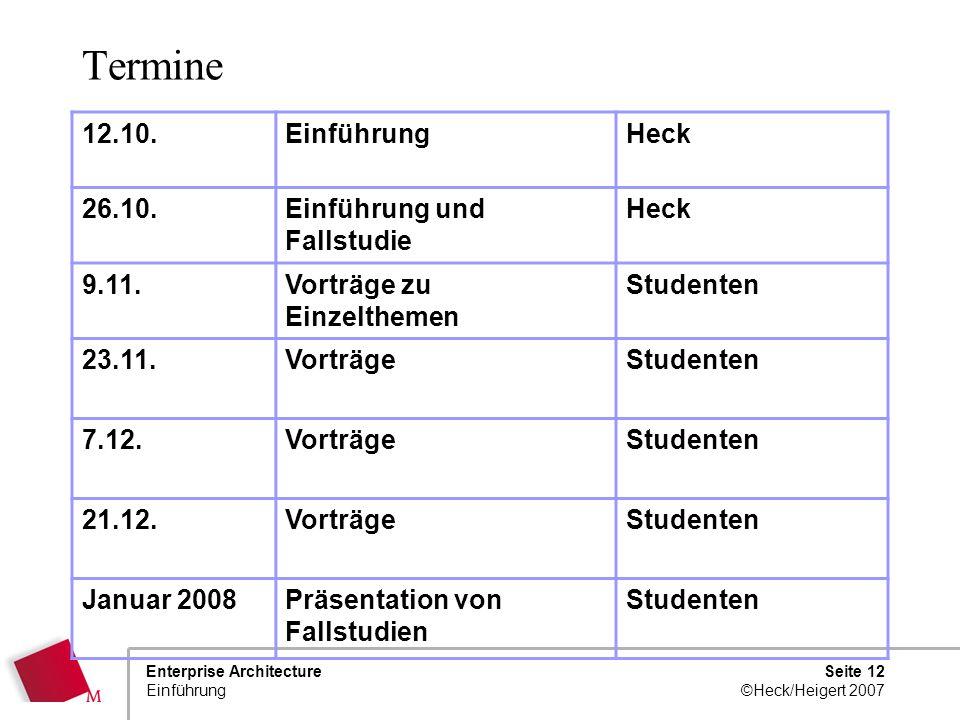 Seite 11 ©Heck/Heigert 2007 Enterprise Architecture Einführung Themen, vorläufig 1.Die Erstellung von Modellen 2.EA Methoden und Modelle 3.EA als Gesc