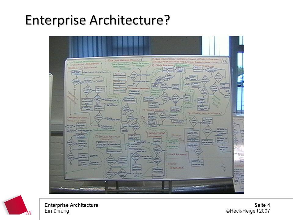 Seite 3 ©Heck/Heigert 2007 Enterprise Architecture Einführung Architektur