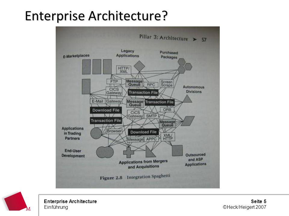 Seite 4 ©Heck/Heigert 2007 Enterprise Architecture Einführung Enterprise Architecture?