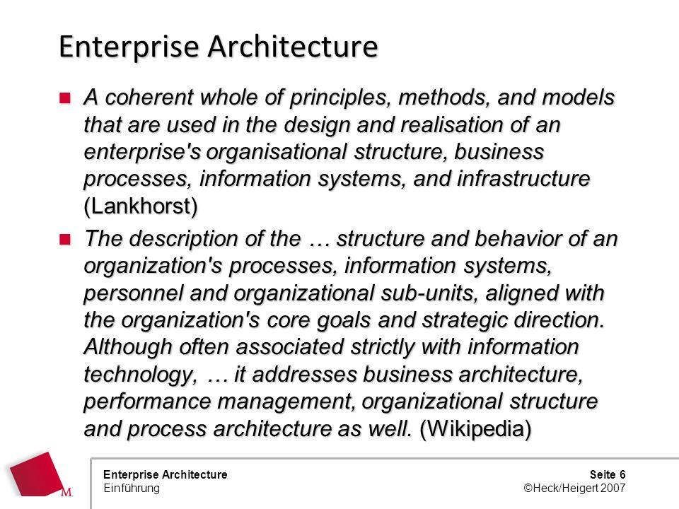 Seite 5 ©Heck/Heigert 2007 Enterprise Architecture Einführung Enterprise Architecture?