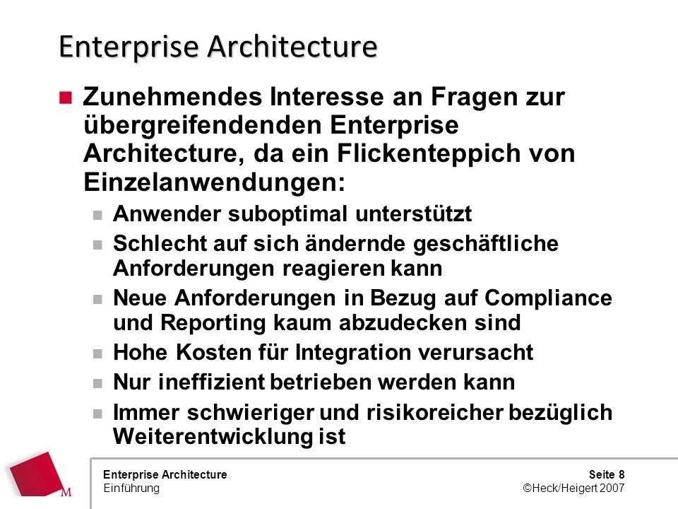Seite 7 ©Heck/Heigert 2007 Enterprise Architecture Einführung Trends E-Hype: Innovation und Geschwindigkeit wichtiger als Konsistenz und Integration?
