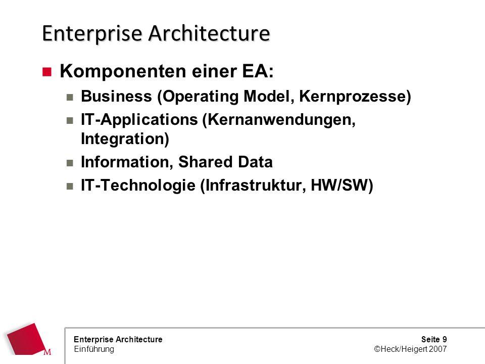 Seite 8 ©Heck/Heigert 2007 Enterprise Architecture Einführung Enterprise Architecture Zunehmendes Interesse an Fragen zur übergreifendenden Enterprise
