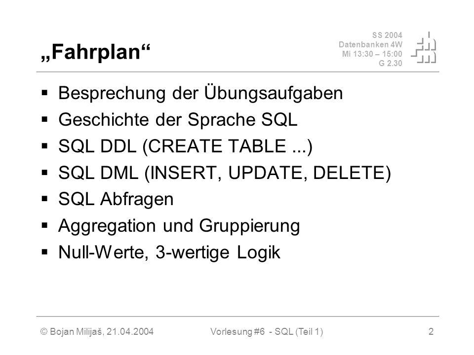 SS 2004 Datenbanken 4W Mi 13:30 – 15:00 G 2.30 © Bojan Milijaš, 21.04.2004Vorlesung #6 - SQL (Teil 1)2 Fahrplan Besprechung der Übungsaufgaben Geschichte der Sprache SQL SQL DDL (CREATE TABLE...) SQL DML (INSERT, UPDATE, DELETE) SQL Abfragen Aggregation und Gruppierung Null-Werte, 3-wertige Logik