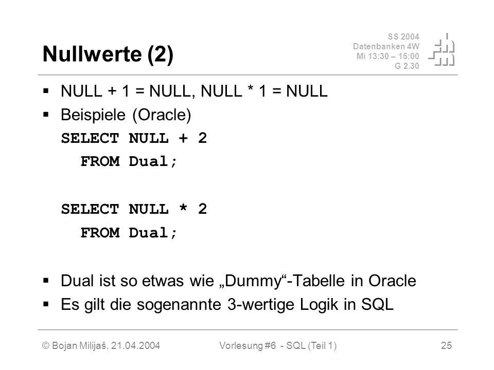 SS 2004 Datenbanken 4W Mi 13:30 – 15:00 G 2.30 © Bojan Milijaš, 21.04.2004Vorlesung #6 - SQL (Teil 1)25 Nullwerte (2) NULL + 1 = NULL, NULL * 1 = NULL Beispiele (Oracle) SELECT NULL + 2 FROM Dual; SELECT NULL * 2 FROM Dual; Dual ist so etwas wie Dummy-Tabelle in Oracle Es gilt die sogenannte 3-wertige Logik in SQL