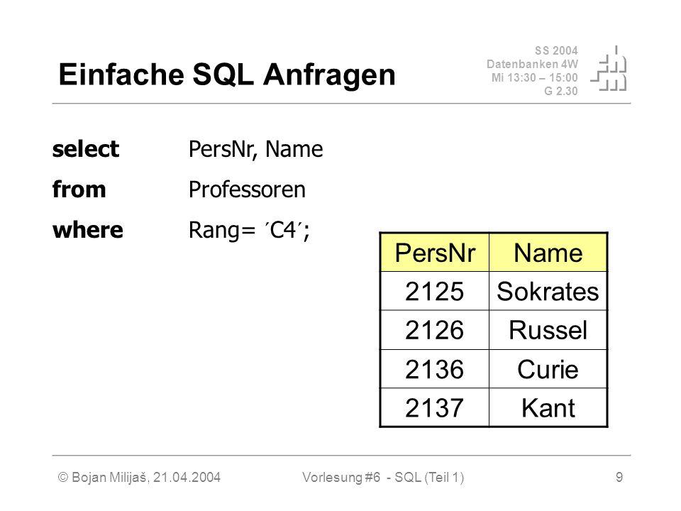 SS 2004 Datenbanken 4W Mi 13:30 – 15:00 G 2.30 © Bojan Milijaš, 21.04.2004Vorlesung #6 - SQL (Teil 1)9 Einfache SQL Anfragen PersNrName 2125Sokrates 2126Russel 2136Curie 2137Kant selectPersNr, Name fromProfessoren whereRang= ´C4´;