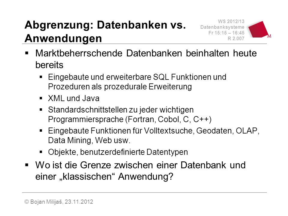 WS 2012/13 Datenbanksysteme Fr 15:15 – 16:45 R 2.007 © Bojan Milijaš, 23.11.2012 Abgrenzung: Datenbanken vs.