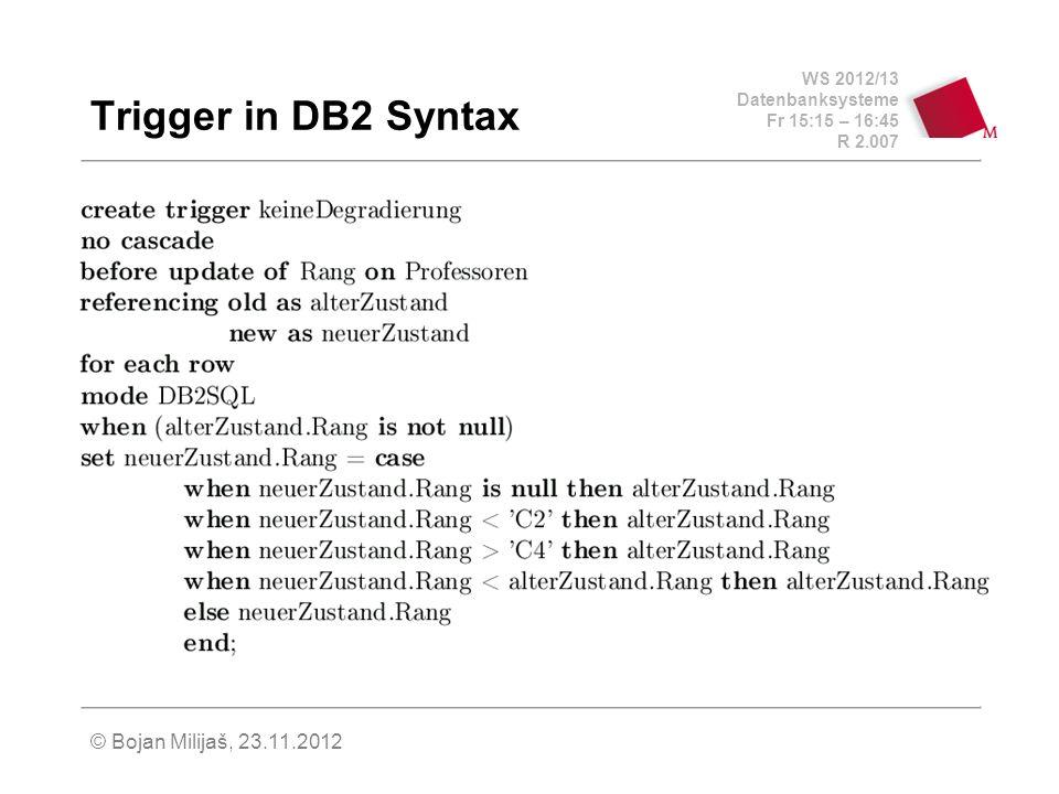 WS 2012/13 Datenbanksysteme Fr 15:15 – 16:45 R 2.007 © Bojan Milijaš, 23.11.2012 Einbettung in Wirtssprachen Embedded SQL (2) user_passwd.len=strlen(user_passwd.arr); exec sql wheneversqlerror goto error; exec sql connect :user_passwd; while (1) { printf( Matrikelnummer (0 zum beenden): ); scanf( %d , &ecMatrNr); if (!exMatrNr) break; exec sql delete from Studenten where MatrNr= :exMatrNr; } exec sql commit work release; exit(0);