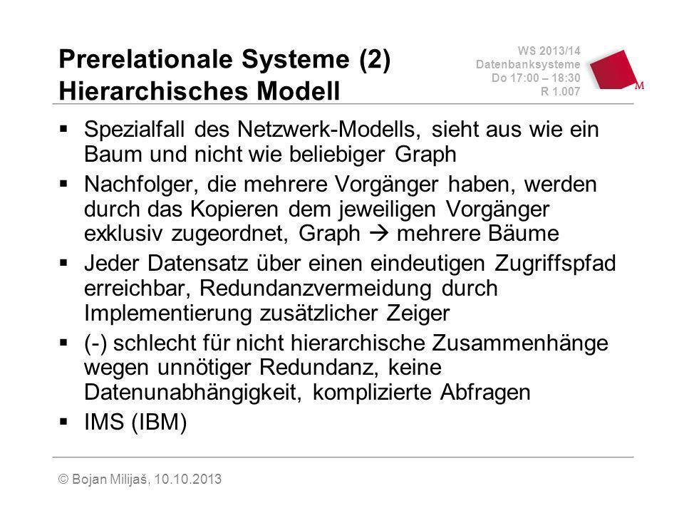 WS 2013/14 Datenbanksysteme Do 17:00 – 18:30 R 1.007 © Bojan Milijaš, 10.10.2013 Prerelationale Systeme (2) Hierarchisches Modell Spezialfall des Netzwerk-Modells, sieht aus wie ein Baum und nicht wie beliebiger Graph Nachfolger, die mehrere Vorgänger haben, werden durch das Kopieren dem jeweiligen Vorgänger exklusiv zugeordnet, Graph mehrere Bäume Jeder Datensatz über einen eindeutigen Zugriffspfad erreichbar, Redundanzvermeidung durch Implementierung zusätzlicher Zeiger (-) schlecht für nicht hierarchische Zusammenhänge wegen unnötiger Redundanz, keine Datenunabhängigkeit, komplizierte Abfragen IMS (IBM)